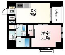 Osaka Metro御堂筋線 江坂駅 徒歩16分の賃貸マンション 5階1DKの間取り