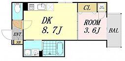 F mirai alba 2階1DKの間取り