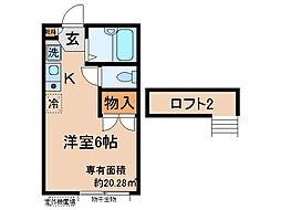 京都府宇治市伊勢田町若林の賃貸アパートの間取り