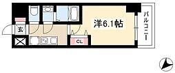 アステリ鶴舞エーナ 6階1Kの間取り