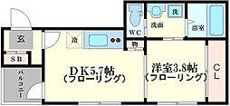 プライムコート野江内代 3階1DKの間取り