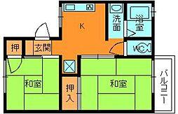 奈良県大和郡山市美濃庄町の賃貸アパートの間取り