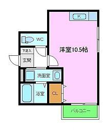 プライドール 2階ワンルームの間取り