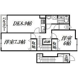 静岡県浜松市浜北区本沢合の賃貸アパートの間取り