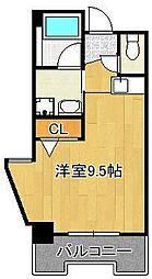 グランドメゾン小倉駅東 3階ワンルームの間取り