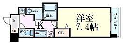 Osaka Metro谷町線 谷町四丁目駅 徒歩7分の賃貸マンション 2階1Kの間取り