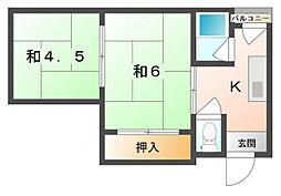 (東)新橋ハイツ[2階]の間取り
