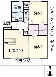 愛知県名古屋市守山区瀬古東2丁目の賃貸アパートの間取り