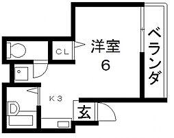 ガリューコート菱屋西[201号室号室]の間取り