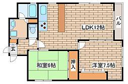 兵庫県神戸市中央区二宮町1丁目の賃貸マンションの間取り