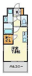 福岡市地下鉄七隈線 渡辺通駅 徒歩4分の賃貸マンション 4階1Kの間取り