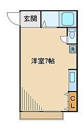 東京都板橋区常盤台1丁目の賃貸アパートの間取り