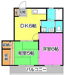 第6YSハイツ[2階]の間取り