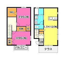 [テラスハウス] 埼玉県所沢市上新井2丁目 の賃貸【/】の間取り