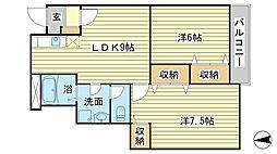 メゾン梅の郷 A棟[A103号室]の間取り