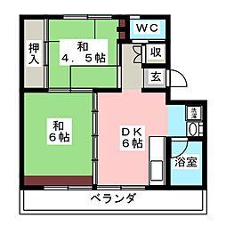 ビレッジハウス小瀬 2号棟[2階]の間取り