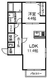 福岡県福岡市中央区草香江1丁目の賃貸アパートの間取り