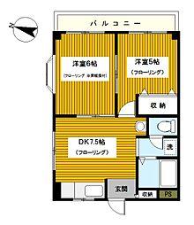 神奈川県横浜市港北区富士塚1丁目の賃貸マンションの間取り
