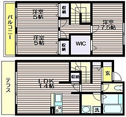 [テラスハウス] 東京都三鷹市中原3 の賃貸【/】の間取り