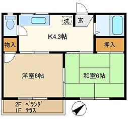 第1押田ハイツ 102[1階]の間取り