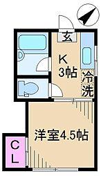 東京都北区豊島2丁目の賃貸アパートの間取り