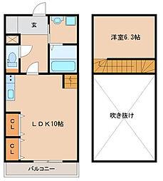 西鉄天神大牟田線 花畑駅 徒歩10分の賃貸マンション 3階1LDKの間取り