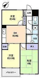 ジーエムコーポ八千代台[4階]の間取り
