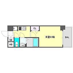 プレサンス大阪ドームシティスクエア 8階1Kの間取り