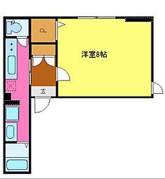 シャーメゾン真栄 3階1Kの間取り