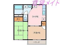 三重県伊勢市藤里町の賃貸アパートの間取り