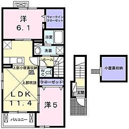 JR横浜線 成瀬駅 徒歩26分の賃貸アパート 2階1LDKの間取り