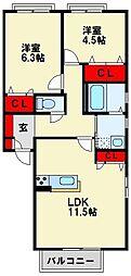 フェリーチェ学研台II B棟[2階]の間取り