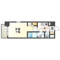 北大阪急行電鉄 江坂駅 徒歩13分の賃貸マンション 8階1Kの間取り