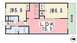 アンプルール[102号室]の間取り