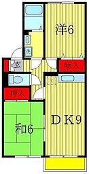 千葉県松戸市小金原3の賃貸アパートの間取り