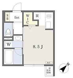ミリアーデ覚王山 2階ワンルームの間取り