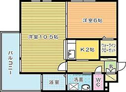 福岡県北九州市小倉南区若園1丁目の賃貸マンションの間取り