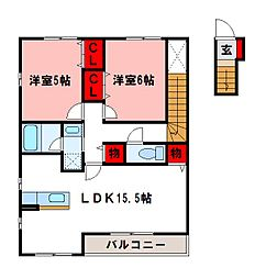 福岡県筑紫野市武蔵5丁目の賃貸アパートの間取り