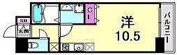 willDo三宮イースト 6階ワンルームの間取り