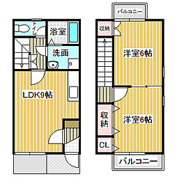 [テラスハウス] 愛知県名古屋市中川区戸田4丁目 の賃貸【/】の間取り