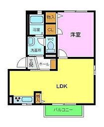 南海高野線 北野田駅 徒歩4分の賃貸アパート 2階1LDKの間取り