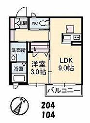 山口県下関市幡生本町の賃貸アパートの間取り