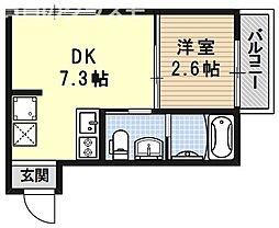 nico西大路(ニコ西大路) 3階1DKの間取り