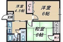 神吉マンション[325号室]の間取り