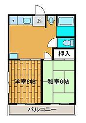 片平中央ハイツ[2階]の間取り
