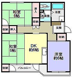 藤阪ハイツA4号棟[4階]の間取り