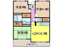 静岡県富士市横割4丁目の賃貸マンションの間取り