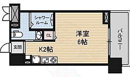JR東海道・山陽本線 京都駅 徒歩13分の賃貸マンション 2階ワンルームの間取り