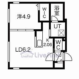 札幌市営東豊線 月寒中央駅 徒歩4分の賃貸マンション 2階1LDKの間取り