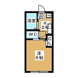 JR山手線 目黒駅 徒歩4分の賃貸アパート 2階1Kの間取り